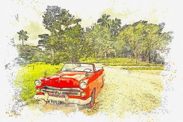 Painting - Cuba Oldtimer -  Watercolor By Ahmet Asar by Celestial Images