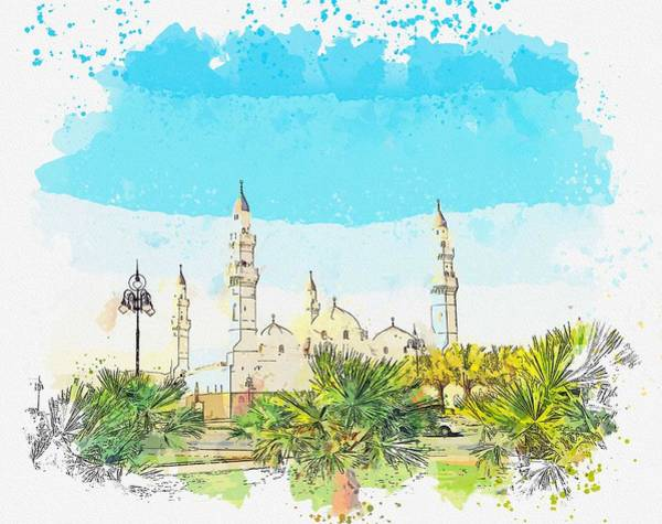 Painting - Cuba Quba Cami Masjid Religion Architecture -  Watercolor By Adam Asar by Celestial Images