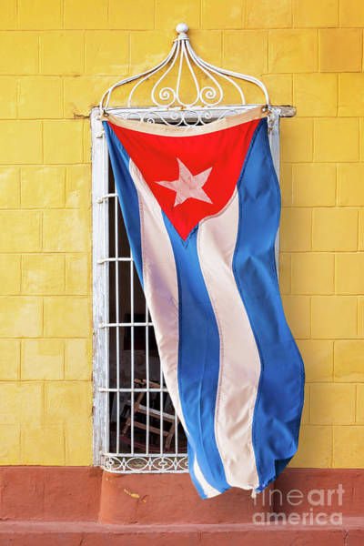 Wall Art - Photograph - Cuban Flag At A Window by Delphimages Photo Creations