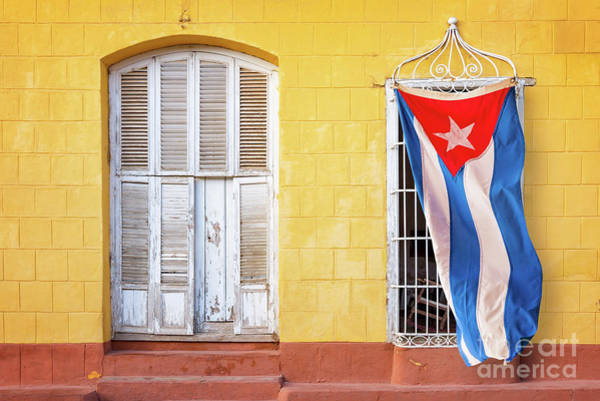 Wall Art - Photograph - Cuban Flag In Trinidad by Delphimages Photo Creations