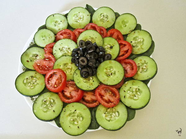 Wall Art - Photograph - Cucumbers Tomatoes And Olive Salad by Joyce Dickens