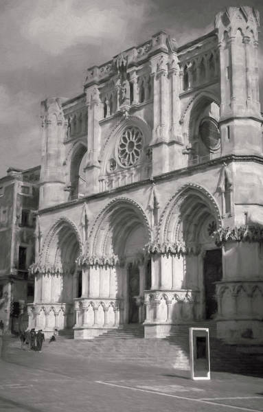 Photograph - Cuenca Spain Cathedral Painterly Bw by Joan Carroll