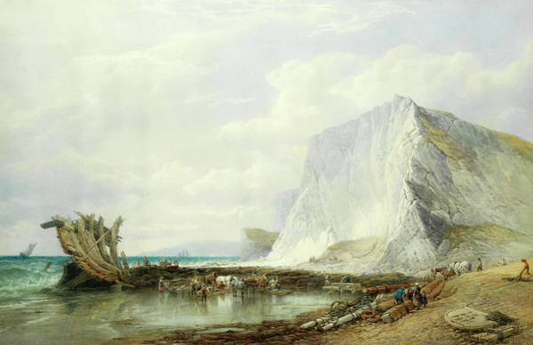 Wall Art - Painting - Culver Cliffs, After The Wreck by Edward Duncan