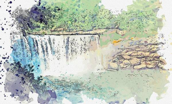 Painting - Cumberland Falls  In Kentucky 2 -  Watercolor By Ahmet Asar by Celestial Images