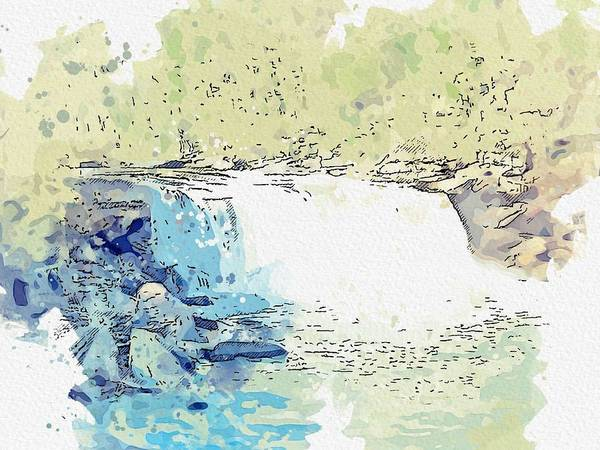 Painting - Cumberland Falls  In Kentucky 3 -  Watercolor By Ahmet Asar by Celestial Images