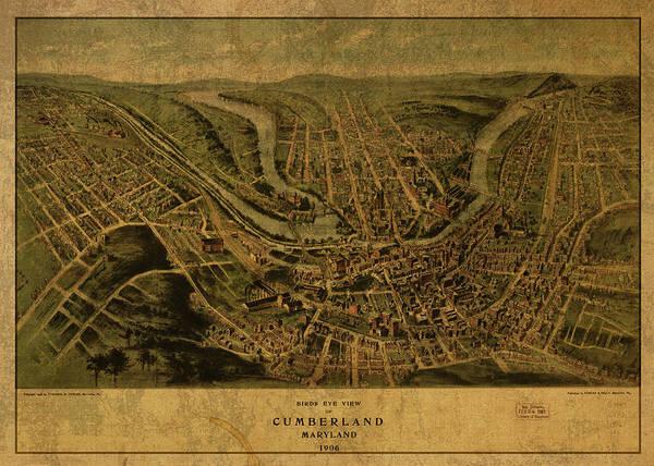 Maryland Mixed Media - Cumberland Maryland Vintage City Street Map 1906 by Design Turnpike