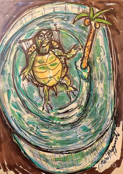 Swimming Pool Mixed Media - Cumberland Slider Turtle Paradise  by Geraldine Myszenski