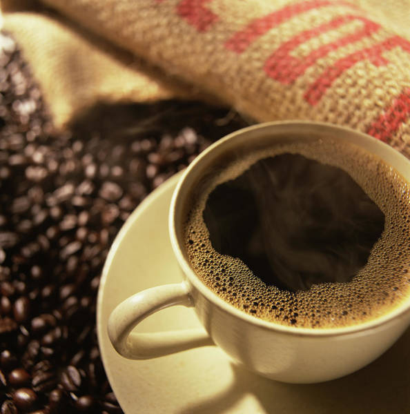 Wall Art - Photograph - Cup Of Coffee And Coffee Beans by Ross Durant Photography