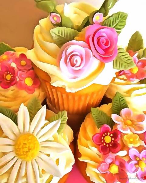 Digital Art - Cupcakes In Acrylic by Catherine Lott