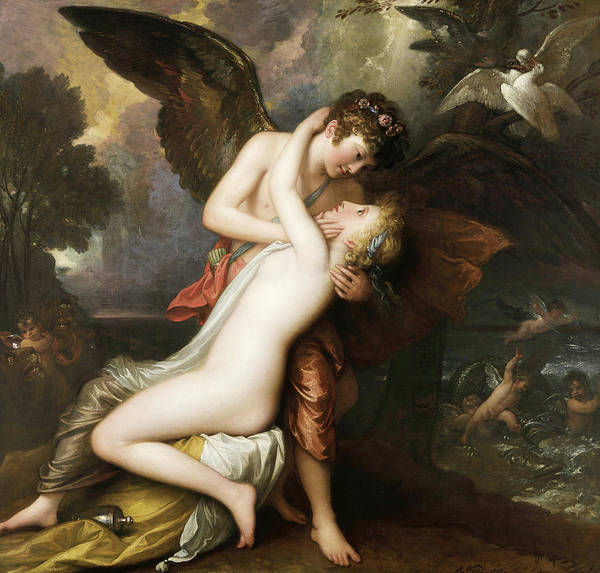 Wall Art - Painting - Cupid And Psyche, 1808 by Benjamin West