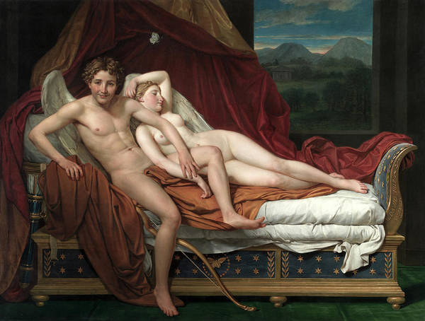 Adolescent Painting - Cupid And Psyche, 1817 by Jacques-Louis David