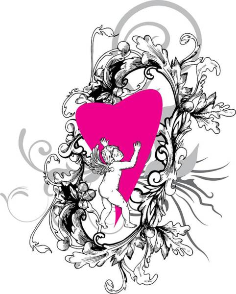 Digital Art - Cupid Floral Valentines Day by Passion Loft