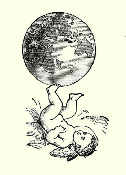 Amuse Drawing - Cupid Rotating The Earth With His Feet by English School