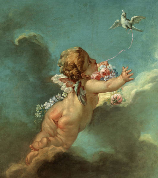 Wall Art - Painting - Cupid With A Flying Pigeon by Francois Boucher