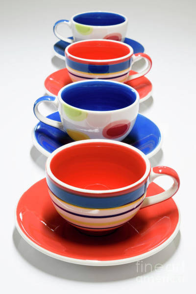 Wall Art - Photograph - Cups And Saucers All Lined Up by Wendy Wilton