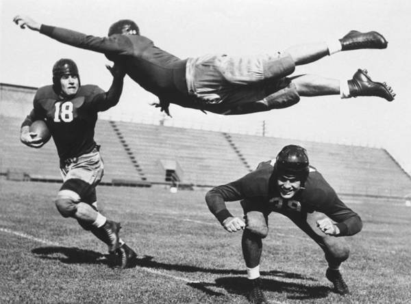 Sports Training Photograph - Curiosity  American Flying Football by Keystone-france