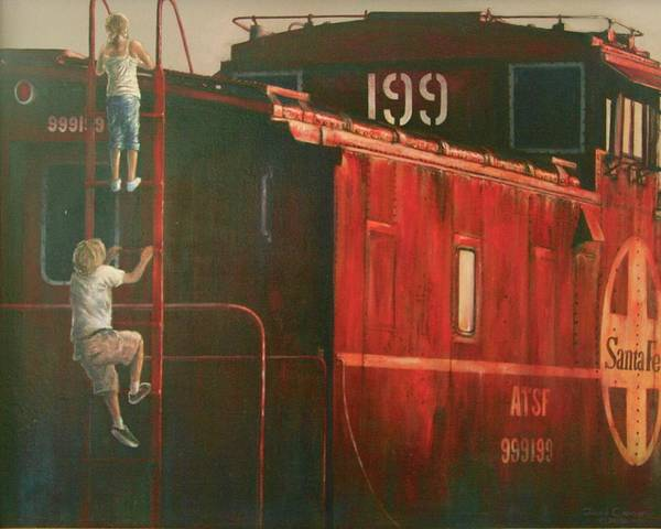 Red Caboose Painting - Curiosity by David Cannon