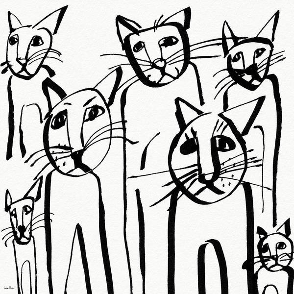 Wall Art - Drawing - Curious Cats-  Art By Linda Woods by Linda Woods