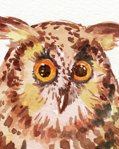 Wall Art - Painting - Curious Owl Watercolor  by Irina Sztukowski