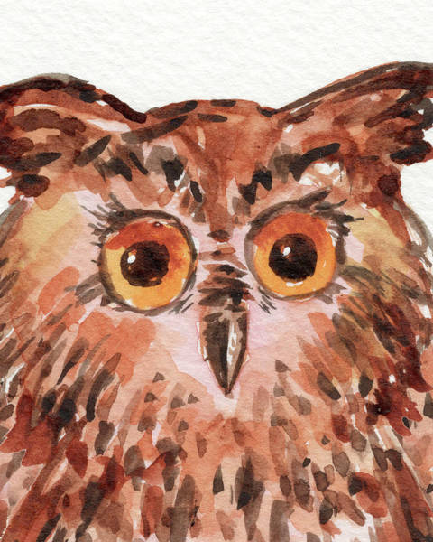 Wall Art - Painting - Curious Owl Watercolor Painting by Irina Sztukowski