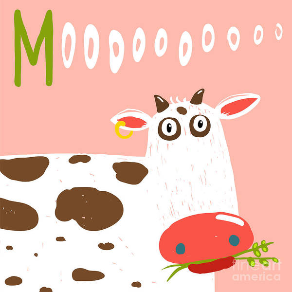 Wall Art - Digital Art - Curious Stupid Cow Eating Grass With by Popmarleo