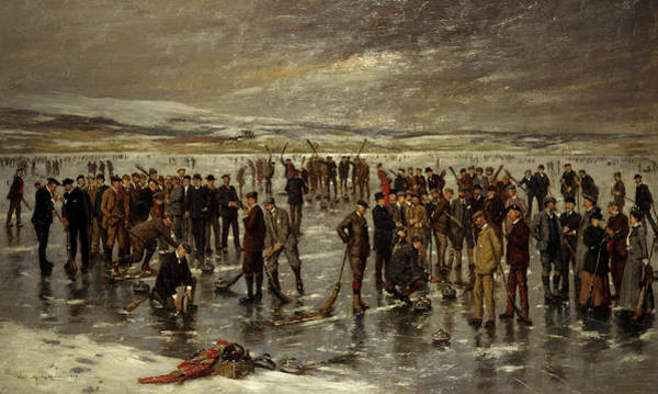 Wall Art - Painting - Curling At Carsebreck, 1899 by Charles Martin Hardie