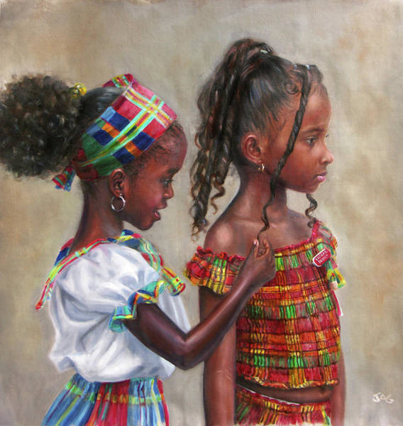 Saint Lucia Painting - Curls by Jonathan Guy-Gladding JAG