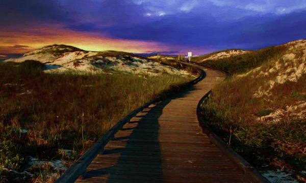 Painting - Curved Boardwalk Through Sand Dunes At Sunset by Russ Harris