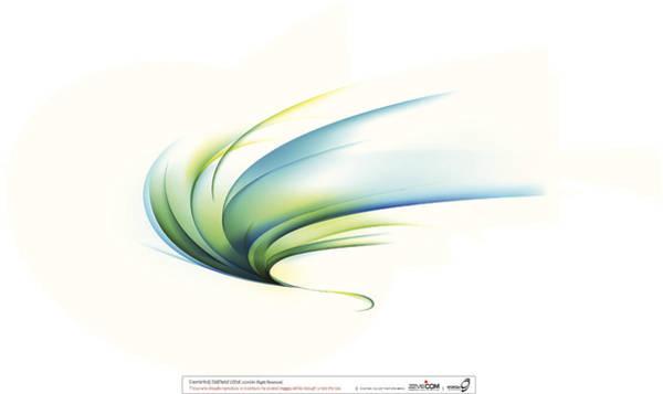 Vector Digital Art - Curved Shape On White Background by Eastnine Inc.