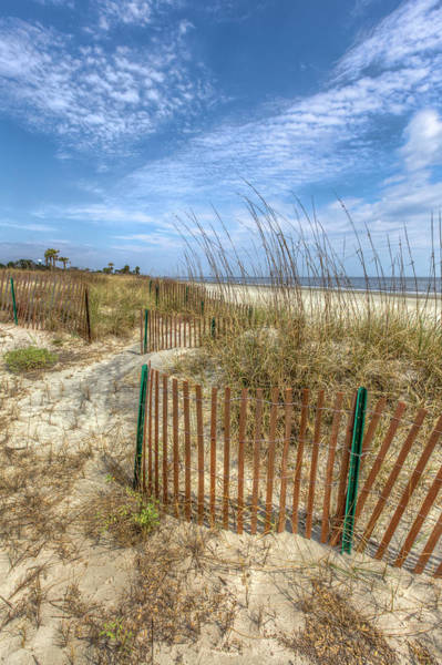 Photograph - Curving Dune Fences by Debra and Dave Vanderlaan