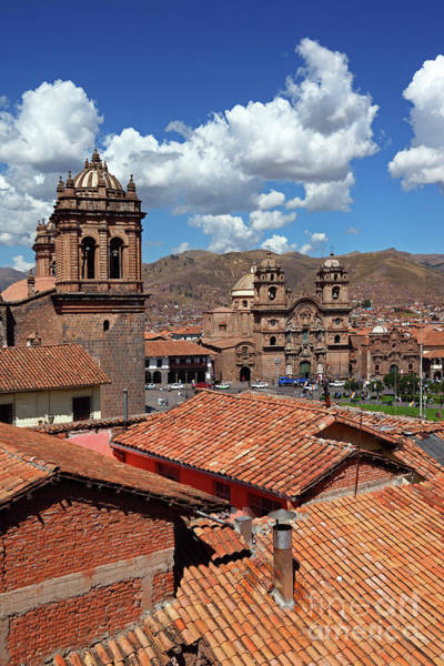 Photograph - Cusco Cathedral And Rooftops Peru by James Brunker