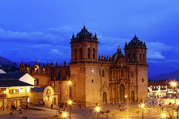Photograph - Cusco Cathedral At Blue Hour Peru by James Brunker