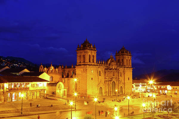 Photograph - Cusco Cathedral At Night Peru by James Brunker