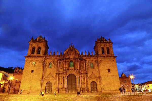 Photograph - Cusco Cathedral Twilight Peru by James Brunker