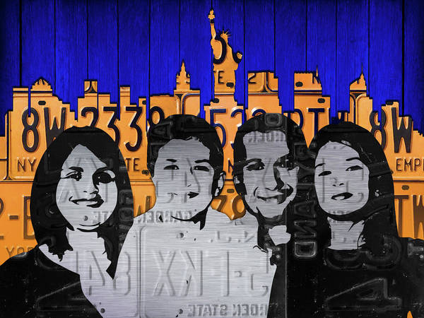 Custom Mixed Media - Custom Family License Plate Art Portrait On New York Skyline by Design Turnpike