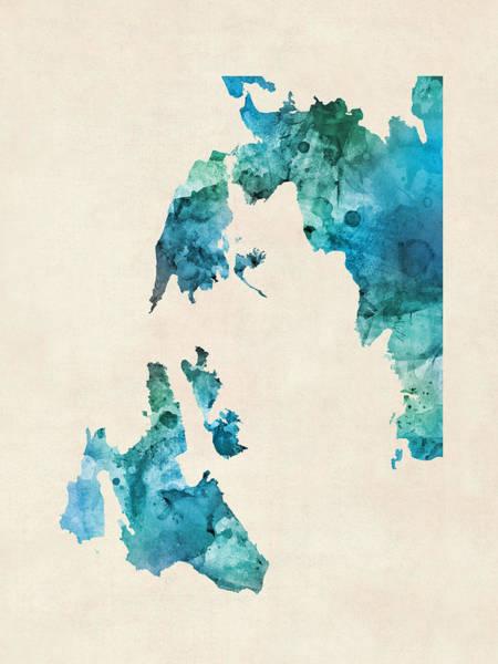 Greek Wall Art - Digital Art - Custom Greece Islands Watercolor Map by Michael Tompsett