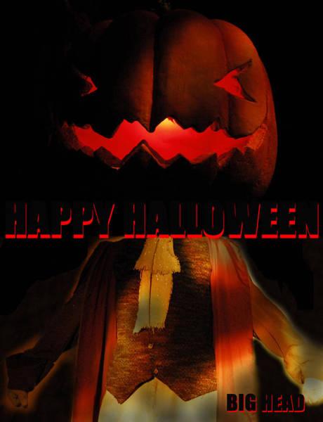 Wall Art - Mixed Media - Custom Halloween Card Big Head by David Lee Thompson