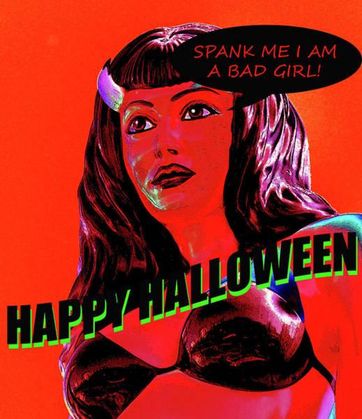She Mixed Media - Custom Halloween Card She-devil by David Lee Thompson