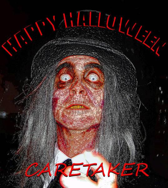 Wall Art - Mixed Media - Custom Halloween Card The Caretaker by David Lee Thompson