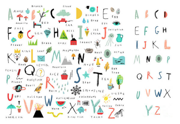 Rain Forest Wall Art - Digital Art - Cute Alphabet. Letters And Words. Learn by Lera Efremova