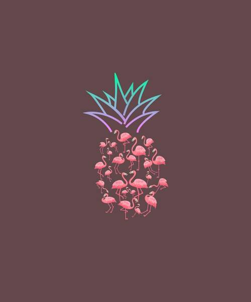 Pineapple Digital Art - Cute And Lovely Pink Flamingo Pineapple Love Gift Shirt by Unique Tees