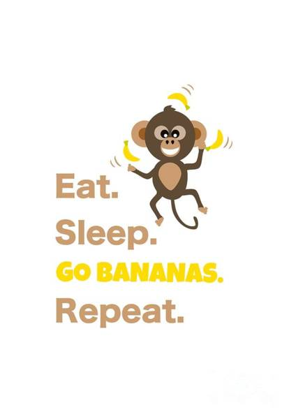 Digital Art - Cute Animal Money Juggling With Text Eat Sleep Go Bananas Popular Quote by Barefoot Bodeez Art
