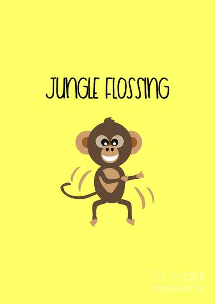 Digital Art - Cute Animal Monkey Jungle Flossing  by Barefoot Bodeez Art