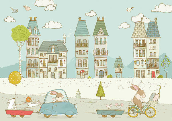 Painting - Cute Animals In The City Whimsical Art For Kids by Matthias Hauser