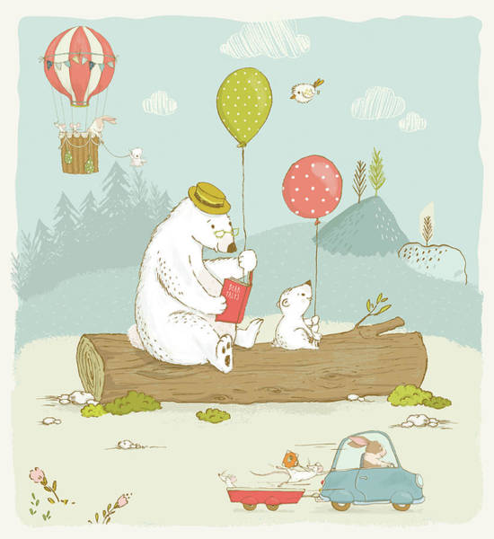 Painting - Cute Animals Whimsical Scenery For Kids by Matthias Hauser