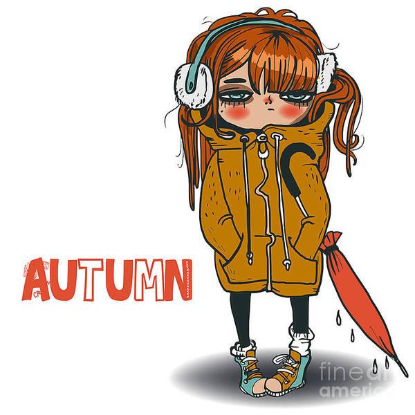 Wall Art - Digital Art - Cute Autumn Girl by Elena Barenbaum