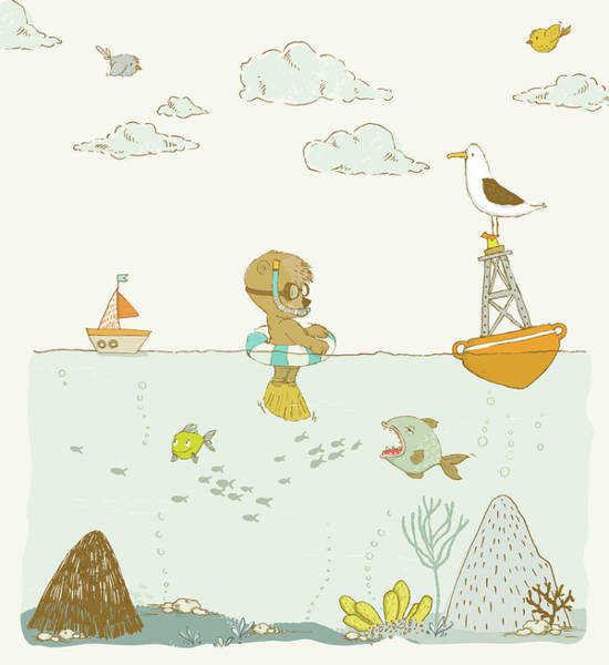 Painting - Cute Bear And Other Animals Whimsical Ocean Scene by Matthias Hauser