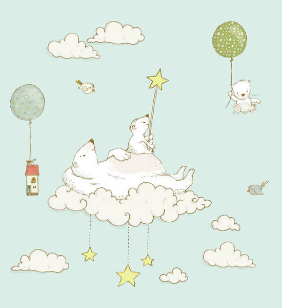 Painting - Cute Bears And Clouds In The Sky Whimsical Art For Kids by Matthias Hauser