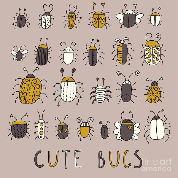 Colorado Wildlife Wall Art - Digital Art - Cute Bugs â Vector Set In Retro by Smilewithjul