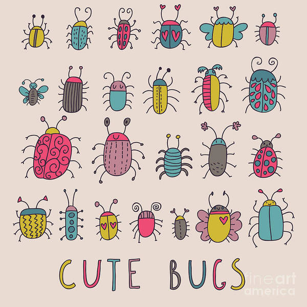 Emblem Wall Art - Digital Art - Cute Bugs. Cartoon Insects In Vector Set by Smilewithjul
